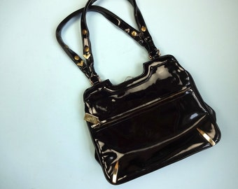 Vintage MOD Handbag •1960s Accessories • Zenith Black Patent Leather Top Handle Bag Modern Mid Century Structured •Bags By Zenith Handmade