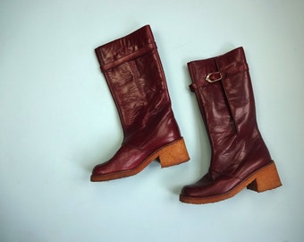 Vintage ETIENNE AIGNER Boots •1970s Footwear • Collectable Oxblood Leather Tall Riding Gum Robber Platform Block Heels Logo •Women Size 7
