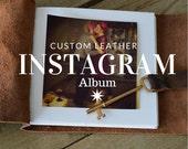 Instagram Photo Album for Valentines Day /Leather Bound Album /Bronze Leather / Skeleton Key