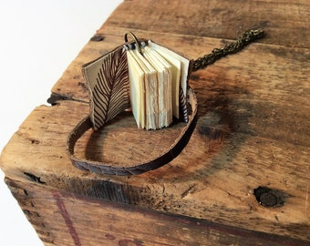 Mini Book Necklace in Brown Leather