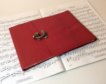 Red leather Song writer's notebook /sheet music journal /music lover's journal / staff paper