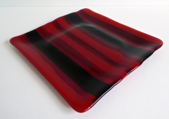 Square Fused Glass Plate in Stripes of Red and Black