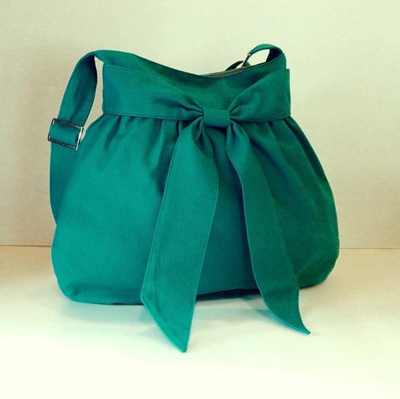 Sale - Bright teal canvas bag - Shoulder bag, Diaper bag, Messenger bag, Tote, Travel bag, Women - AMY