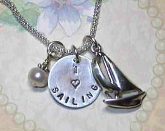 Sailing Gift, I love Sailing Hand Stamped Sterling Silver Charm Necklace, Sailboat Necklace