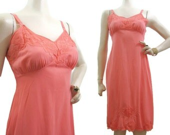 Vintage 50s 60s Full Slip Salmon Pink Nylon and Lace Dorsay 34