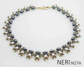 NERI Silky SuperDuo and O Beads Beadwork Necklace Beading Kit (Instruction and Materials)