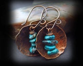 Rustic Hammered Copper and Turquoise Earrings - Hammered Copper Earrings - Antiqued Copper Artisan Earwires - COPPER AND TURQUOISE