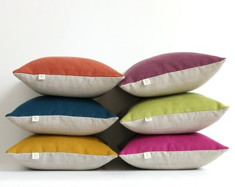 Colorblock Pillow Covers in NEW COLORS, Stone Grey and Natural Linen by JillianReneDecor - Modern Home Decor - Jewel Tone Pillows - fw2015