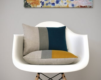 Decorative Pillows, Colorblock Pillow Cover in Lake or Marigold by Jillian Rene Decor, Mid-Century Modern Decor, Yellow & Teal - Fall FW2015