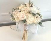 Ivory Wedding Bouquet made with sola flowers - choose your colors - Bridal - Made to order - Alternative bouquet - bridesmaids bouquet