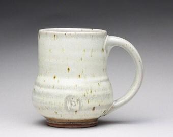 handmade pottery mug, coffee cup, ceramic teacup with satin white and orange shino glazes