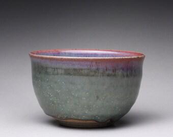 handmade matcha chawan, ceramic tea bowl, pottery bowl with emerald green and light blue gray celadon glazes