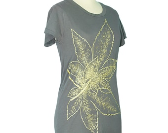 Japanese Maple Leaf Crew Neck T-Shirt, Asphalt Grey, Momiji, Gold, Botanical, Vintage Style, Women, Screen Printed - Gifts for Her