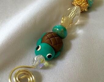 Fan Pull, Lamp Pull, Light Pull, Nursery Fan Pull, Nursery Lamp Pull, Nursery Light Pull, Turtle Fan Pull, Turquoise n Brown Turtle Fan Pull