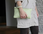 Leather Wristlet - Ladies Clutch - Leather Evening Bag - Bridesmaids Gift- Large Clutch - Leather Bag - Large Wristlet