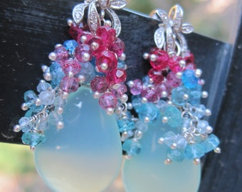 Jamaica Love Earrings - Blue Chalcedony, Apatite, Aquamarine and Topaz Earrings