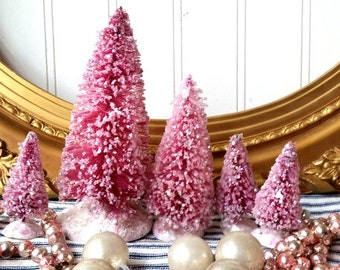 5 bottle brush trees Magenta Raspberry pink Christmas trees vintage style glittered Farmhouse Shabby Cottage Holiday decor