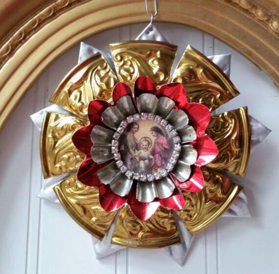 Christmas ornament upcycled tart tin icon vintage metal