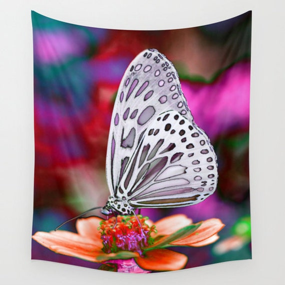 Butterfly Wall Tapestry, POP Art, Macro, Fine Art Photography, Modern, Nature, Flower, Botanical Tapestry, Surreal, Garden, Pink Black White