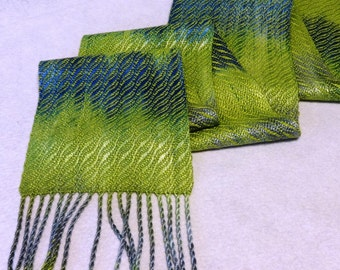 Hand Woven Tencel Scarf - Hand-dyed Scarf in greens and blues - South Seas  - Lemon Grass Scarf - Woven Scarf