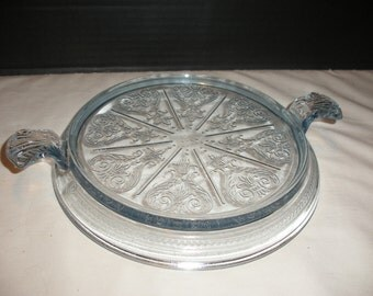 Vintage Light Sapphire Blue Fire King Glass Trivet Cake Stand Mid Century