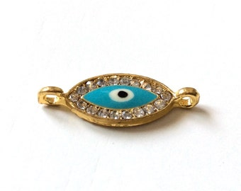 1pc- Matte Gold Plated Crystal Evil Eye Connector-25x12x1mm (012-018GP)