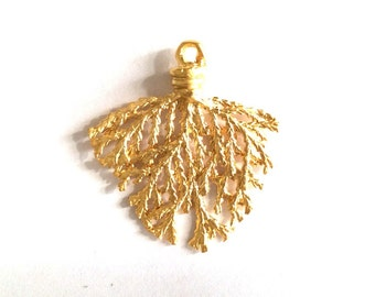 1 pc Matte Gold  plated Branch Pendant-40x35 mm-(016-066GP)