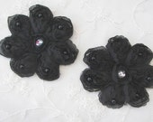 2 pc 3 inch Ribbon Rose BLACK Flower Sewing Applique Floral Beaded w Pearl Stone