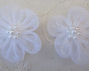 12 pc White Organza Pearl Beaded Ribbon Fabric Flower Applique Bridal Baby Doll Hair Bow