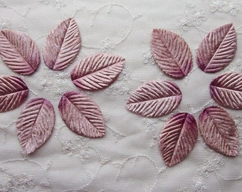 12 pc Old Rose Cedar Pink VELVET Embossed LEAF Leaves Applique Fairy Bow Scrapbooking Card Making Bridal Hair Accessory