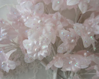 36 pc Pearl Beaded Tinsel Glitter Blush Pink Wired Flower Applique Bridal Favor Wedding Bouquet Baby Pageant Decoration