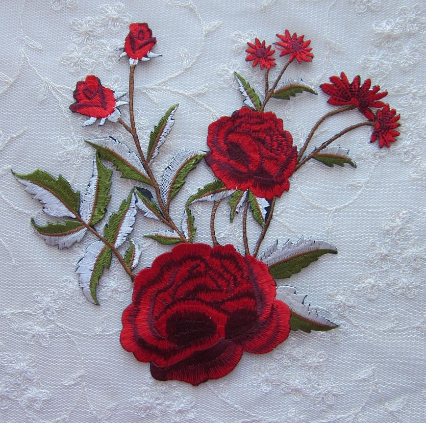 Red hat society rose embroidered flower patch iron on applique