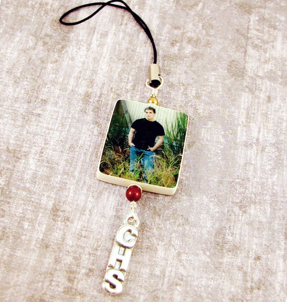 Custom Cell Phone Charm with a Sterling School Letter Charm - P2ZPa