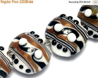 ON SALE 50% OFF Four Sophisticated Trio Lentil Beads -  Handmade Glass Lampwork Bead Sets 10204512