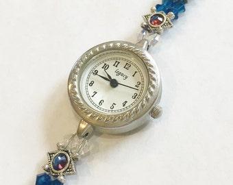 Ocean Blue Swarovski Beaded Watch