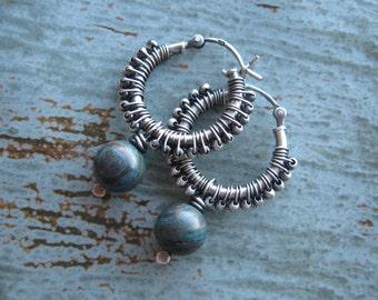 Blue Sky Jasper Wire Wrapped Hoop Earrings