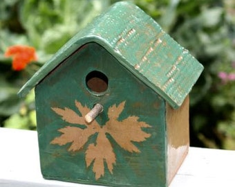 Stoneware birdhouse One of a Kind Green and Brown with Leaf Decoration
