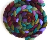 Polwarth/Silk Roving - Handpainted Spinning or Felting Fiber, Olive Medley