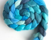 Polwarth/Silk Roving - Handpainted Spinning or Felting Fiber, Under a Blue Sky