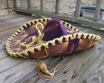 """23"""" Wide Purple Mexican Sombrero w Gold Sequins Metallic Embroidered Hat Vintage 60's Made in Mexico"""