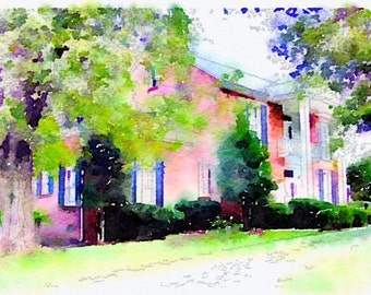 Watercolor Style Print of Home Makes a Great Gift!