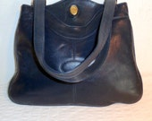 FS Original calf leather satchel bag purse dual strap shoulder bag vintage 80s deep navy pristine condition