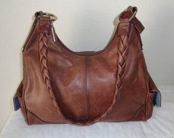 Light brown genuine slightly distressed leather med  size hobo, satchel ,shoulder bag, tote , work bag , braided strap vintage 90s