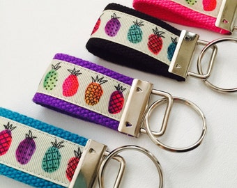 Hot Pink Pineapple Key FOB, Pineapple Accessory,Keychain, Hot Pink Pineapple Ribbon, Beach KeyFob, Wholesale Keychain seller, chapstick hold