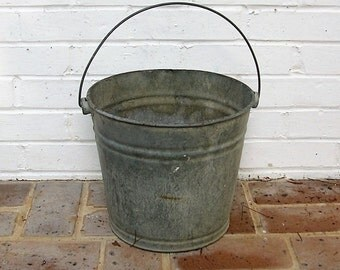 Vintage Galvanized Bucket With Metal Handle