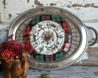 Vintage Broken China Mosaic Tray - Large Oval - Red Plaid - Myotts Bouquet - Fitz and Floyd