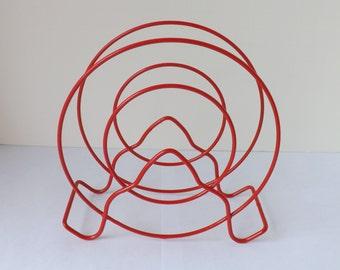 Vintage art deco wire napkin holder, red kitchen, red napkin holder, letter holder, mail organizer, rv trailer decor,