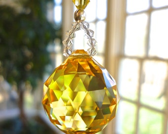 "Swarovski Crystal Yellow Ball Prism for Car Rearview Mirror or Home Window, Suncatcher, Car Charm, ""LITTLE SIMPLICITY Heartstrings by Morgan"