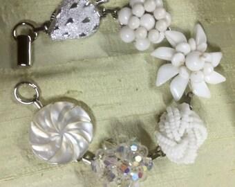"""White Wedding earring bracelet 8"""" length  50% off!"""