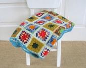 Vintage Afghan Blanket Crochet Knit Colorful Retro Granny Squares